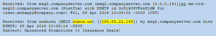 Image of an Email Header Showing Originating IP Address